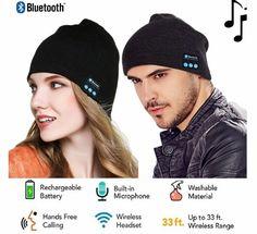 Bluetooth Earphone Wireless Headphones Beanie Hat Unisex Black Knit Cap Musical Running Hat Christmas Gifts for Men Women. Music Headphones, Wireless Headphones, Bandeau Sport, Cotton Beanie, Black Knit, Keep Warm, Fashion Branding, Beanie Hats, Shopping