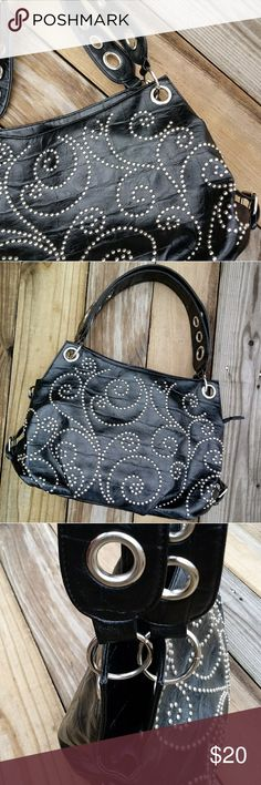 """Youmi K Studded Purse Black faux alligator print with silver stud design. The inside has a interior divider that zips one zipper pocket and two pouch pockets..  EUC. Zipper closure. 14.5W x 19D x 10.5T.  Handles are 9"""". Youmi K. Bags Shoulder Bags"""