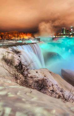 Frozen Niagara Falls at Night. We saw Niagara Falls Very beautiful! Places Around The World, The Places Youll Go, Places To See, Around The Worlds, Dream Vacations, Vacation Spots, Niagara Falls At Night, Niagara Falls Winter, Niagara Falls Frozen