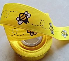 Ribbon. http://www.etsy.com/listing/68469362/buzzy-bumble-bees-printed-on-yellow-78?ref=sr_gallery_6_search_submit=_search_query=bee+party_page=2_search_type=all_facet=