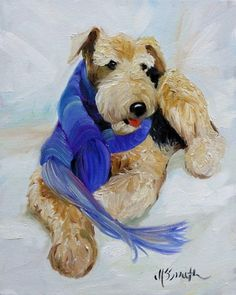 "8x10  ""Purple Scarf""  (Airedale Terrier)  Giclee Print of Original Oil Painting  by Mary Sparrow Smith  Printed with archival inks and Signed by the artist."