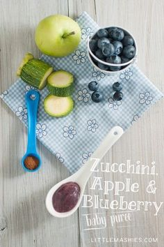 Baby food recipe Apple Blueberry Zucchini and Cinnamon puree from Little Mashies reusable food pouches. For free recipe ebook go to Little Mashies website or Amazon #toddlermeals