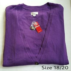 """Purple Cardigan  NWT Purple. 5 button closure. There are buttons on the sleeves shown in 3rd photo. 100% acrylic. 26"""" from underarm to underarm.  29"""" in length. Avenue Sweaters Cardigans"""