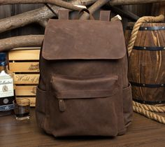 Handmade Leather Backpack /Vintage Leather Macbook Briefcase Leather School Bag Backpack  (M100)
