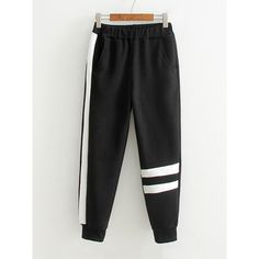Contrast Tape Striped Sweatpants ($7.99) ❤ liked on Polyvore featuring activewear, activewear pants, sweat pants, striped sweatpants and striped sweat pants