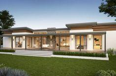 Yallingup Retreat Farmhouse Home Design Contemporary House Plans, Modern House Plans, Contemporary Style Homes, House Front Design, Modern House Design, Flat Roof House Designs, House Roof, Facade House, Ventura Homes