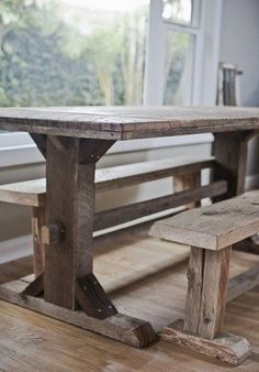 reclaimed trestle leg dining table with benches. great way to increase seating without taking much space Dining Table Bench Seat, Barn Table, Dining Table With Bench, Dining Room Table, Trestle Tables, Wood Table Legs, Plank Table, Timber Table, Wood Tables
