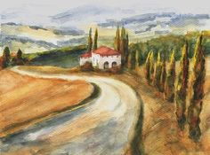 Road to Rapolano II  original watercolor painting by Maga Fabler  © Maga Fabler 2015 #art #Tuscany #watercolor #landscape @magafabler