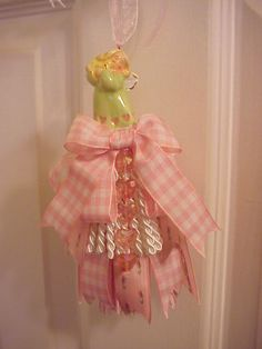 decorative tassel angel in green and pink (sold)