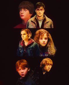 Harry, Hermione and Ron's  first and last battles.