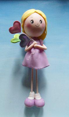 WIP: Muñeca en Porcelana Fría (Modelpasta Artel) con globitos de Goma Eva Glitter ^_^  Cold Porcelain doll  30 cms+ alto/height.  Made by me @moonyfran