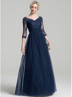 A-Line/Princess V-neck Floor-Length Tulle Mother of the Bride Dress With Ruffle (008091960)