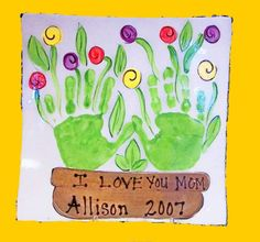 Flower Handprint art mothers day