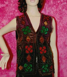 Vintage 1960 1970 Velvet Waistcoat Size 12 14 Emerald Gold Red Hippy