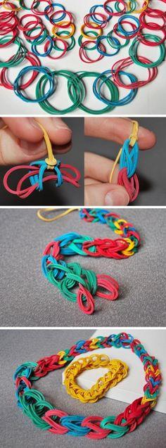 DIY Rubber Band Necklace ❥ 4U // hf