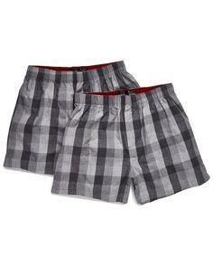 Kenneth Cole Pack of 2 Tri Plaid Cotton Boxers  Men #Socks,Underwear