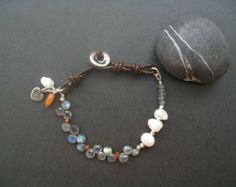 Labradorite Leather Bracelet, Pearl Leather Bracelet,  Bohemian Bracelet, Gemstone Bracelet Sundance Inspired Bracelet