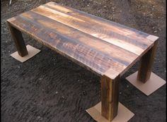 wood beem dining table | Heavy duty reclaimed lumber dining table