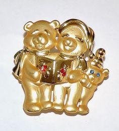 2571~Vtg Signed DANECRAFT Rhinestone Figural Christmas Bear Family Brooch Pin** #Danecraft