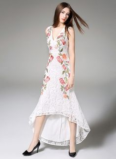 Polyester Floral Sleeveless High Low Casual Dresses
