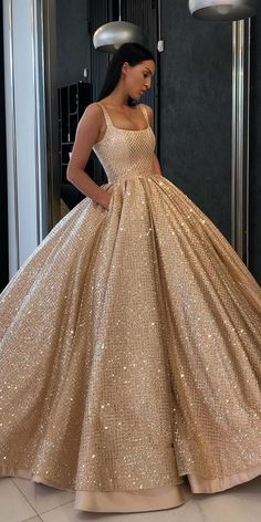 Ball Gown Prom Dress with Pockets Beads Sequins Floor-Length Gold Quinceanera Dr. Ball Gown Prom Dress with Pockets Beads Sequins Floor-Length Gold Quinceanera Dr. Ball Gown Prom Dress with Pockets Beads Sequins Floor-Length Gold Quinceanera Dresses Gold Wedding Gowns, Gold Prom Dresses, Pretty Prom Dresses, Prom Party Dresses, Elegant Dresses, Dress Prom, Dress Long, Gold Quinceanera Dresses, Long Dresses