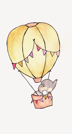 hot air balloon with bunting