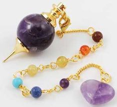 Using a spherical amethyst stone to form the bulk of the pendulum's bob, this pendulum uses amethyst's natural powers of the mind to aid in your divination.  www.ancient-wisdoms.com