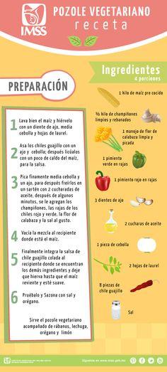 Infografía sobre como preparar Pozole Vegetariano