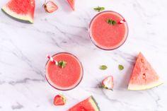 Erfrischender Erdbeer-Wassermelone Smoothie - vegetarisch, rein pflanzlich, vegan, ohne raffinierten Zucker, glutenfrei - de.heavenlynnhealthy.com