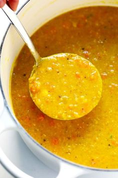 This is the BEST lentil soup recipe!! It's full of amazing lemony flavor, it's naturally healthy and vegan and gluten-free, it's quick and easy to make, and SO delicious. Instant Pot and Slow Cooker instructions included too! | Posted By: DebbieNet.com