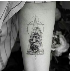 Geometric ship tattoo                                                                                                                                                                                 More
