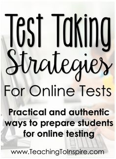 Online Testing Strategies: Prepare Your Students To Take Online Assessments Preparing students to take online tests does not have to be difficult or frustrating. This post shares multiple, authentic online testing strategies. Test Taking Strategies, Instructional Strategies, Teaching Strategies, Reading Test, Reading Intervention, Teaching Reading, Math Test, Staar Test, Standardized Test