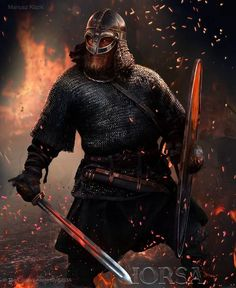 viking warrior mail chainmail fire ash fiery