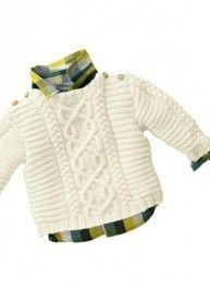 160 - n° 37 Pull Irlandais Tricothèque, broderie & tricot - Baby/toddler Aran cabled sweater FREE knitting pattern in French (hva) Baby Knitting Patterns, Baby Sweater Patterns, Baby Boy Knitting, Knitting For Kids, Baby Patterns, Free Knitting, Baby Boy Sweater, Knit Baby Sweaters, Boys Sweaters