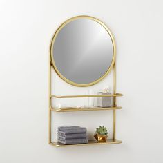 half court brass shelf with mirror | CB2