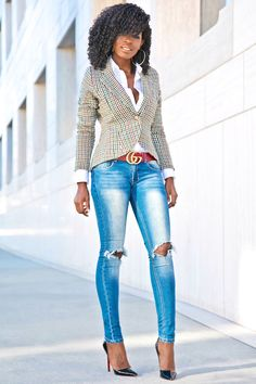 Style Pantry | Houndstooth Blazer + Button Down + Ripped Skinnies