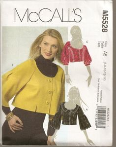 McCalls M5528 - Cropped Jacket    A, B, C have front princess seams, back stitched inverted pleats and three-quarter sleeve variations. Jacket A