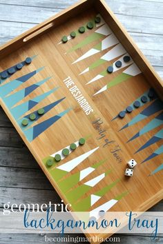 DIY this geometric backgammon tray with a basic serving tray and some vinyl! #makeover #WayfairMyWay #backgammon
