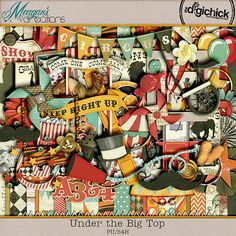 A fun and exciting kit for all ages! Under the Big Top by Meagan's Creations has a vintage feel with a classic look. Traditional stripes, stars, bursts and a great palette make this kit all-around great for everyday craziness. Life a wild three ring circus? Scrap those memories with this great kit.