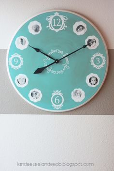 """Make your own personalized clock with family photos and fancy numbers....I might actually do this one!  """"Clock Make Over"""" tutorial - Landee See Landee Do"""