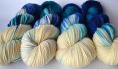 Hand Dyed Yarn / DK Yarn / Blue Natural / Seafoam / Yarn Loft