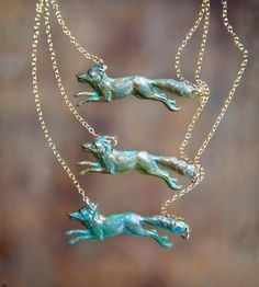 Brass Fox Necklace | This necklace features a detailed brass stamping of a prancing...