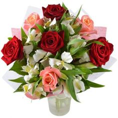 """""""Charming""""- The composition of the bouquet includes 2 types of roses (juicy red and delicate pink), as well as an exquisite mix of al & # 110 - Balcony Flowers, Types Of Roses, Amazing Flowers, Dried Flowers, Flower Arrangements, Floral Wreath, Delicate, Wreaths, Table Decorations"""