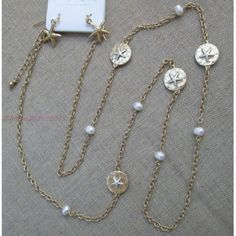"""Long Gold 36"""" Chain Layer Necklace Starfish Accent Medallions Pearl Bead Earring Beach Jewelry Set"""