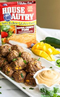 Gluten-free Mango Meatballs with Cashew Dipping Sauce! A bright, tangy, sweet & spicy addition to your summer table sure to easily impress any guest! Pork Seasoning, Spicy Meatballs, Mango Sauce, Crispy Pork, Sweet And Spicy, Oven Baked, Meat Recipes, Veggies, Appetizers