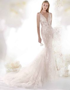 Mermaid lace wedding dress with low plunging neckline and lace bodice - Colet - The Crystal Bride - Geneva IL Wedding Dresses Brisbane, Dream Wedding Dresses, Designer Wedding Dresses, Wedding Gowns, Bling Wedding, Tulle Wedding, Wedding Dress Shopping, Online Dress Shopping, Mermaid Gown