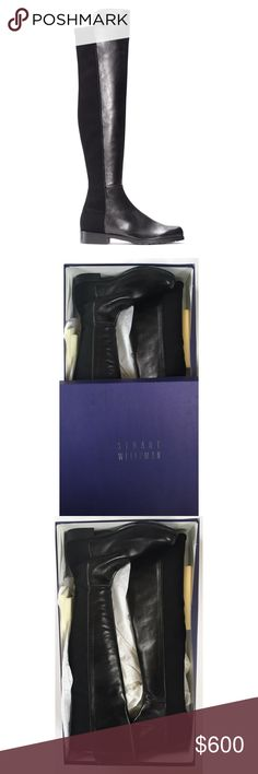 Stuart Weitzman 50/50 boots (BNIB) Authentic Stuart Weitzman 50/50 boots in black leather, which I bought from Neiman Marcus. They are in perfect condition — they've never even been taken out of the box! These boots are beloved by stylists and celebrities (pics above) because they hug the leg, creating a flawless leather leg finish. The elastic gives this boot amazing stretch, too — but doesn't take away from the polished integrity of the look. I LOVE that! Price is firm • No trades/offers…