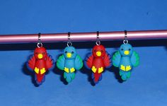 Polymer Clay Bird Stitch Markers set of 4 by JHMiniatures on Etsy, $14.00...would make for cute earrings