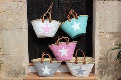 Ibiza Beach Bag French market Basket Natural Big Tote Bag with a STAR