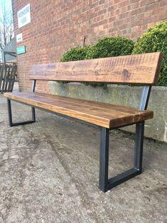 Welded Furniture, Outdoor Wood Furniture, Barrel Furniture, Diy Garden Furniture, Bench Furniture, Metal Outdoor Bench, Metal And Wood Bench, Wood Bench With Back, Wood Bench Plans